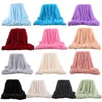 1Pc Luxury Blanket Plush Shaggy Silky Blankets Faux Fur Throw Bedspread Red Summer Quilt Throw Blanket for Wedding Decor