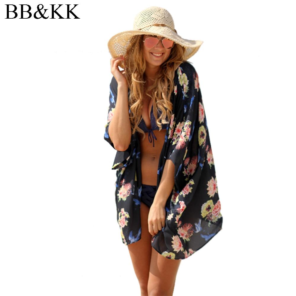 Women Summer Cardigans Half Sleeve Tropical Floral Print Cover Up Beach Loose Regular Blouse Casual Chiffon Kimono Blusas