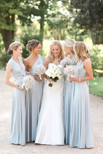 New Light Blue Bridesmaid Dresses Pleated Floor length Country Beach Wedding Guest Party Gowns Long Prom Dress