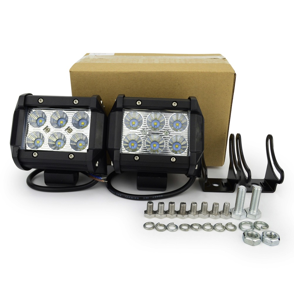 1 pcs 4 inch motor led kerja cahaya led 18 w led offroad light bar - Lampu mobil - Foto 5