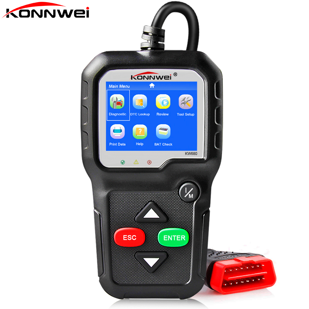 2018 Best Autoscanner KONNWEI KW680 OBD 2 Car Diagnostic Scanner Engine Analyzer Fault Code Scanner for Car Diagnosis Escaner best hd iptv box ips2 plus dvb s2 tv receiver 1 year europe iptv 2500 channels dvb s2 usb wifi set top box satellite receiver