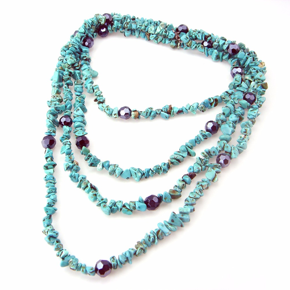 Hot-selling Bohemian style turquoises necklace multi-layer stone sweater chain bracelet womens ornament Accessories decoration gold multi layer necklace sweater chain necklace