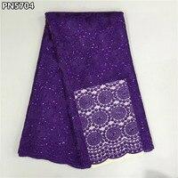 Heißer verkauf african französisch spitze stoff hohe qualität lila tüll nigerianischen tüll mesh stoff für hochzeitskleid PN5704