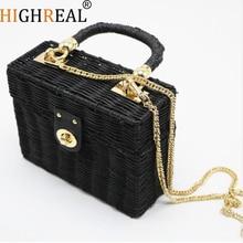 New Rattan Black Straw Shoulder Bag Women Hand-woven Messenger Bag Summer Beach Square Box Straw Handbag For Lady Bolsa Feminina