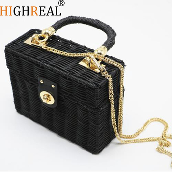 New Rattan Black Straw Shoulder Bag Women Hand-woven Messenger Bag Summer Beach Square Box Straw Handbag For Lady Bolsa Feminina shoulder bag