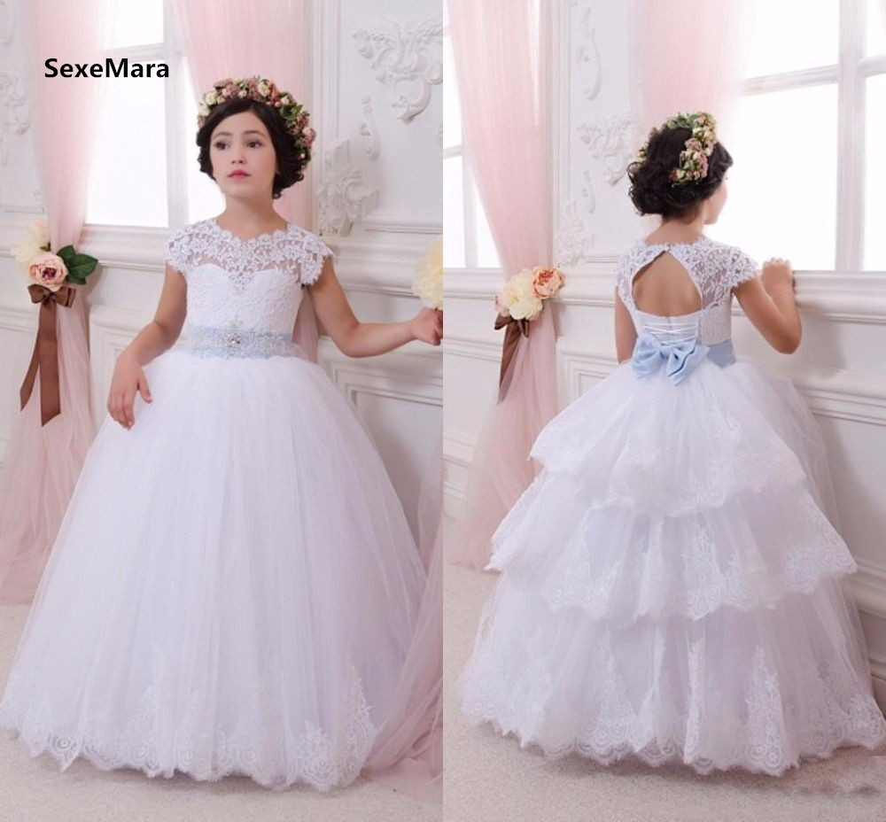 New White Customized Flower Girls Dresses for Wedding A Line Tiered Tulle Lace Girls Puffy Christmas Dress Pageant Birthday Gown цены онлайн