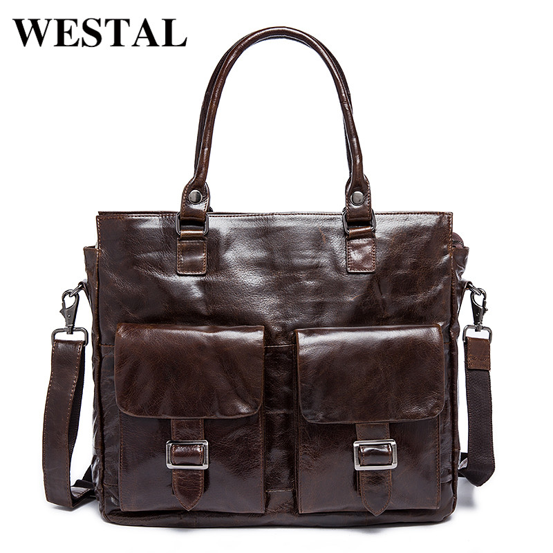WESTAL Genuine Leather Men Bags Male Briefcase Man Business Laptop Bag Men Crossbody Shoulder Handbags Men's Messenger 004 mva genuine leather men bags new man briefcase laptop handbag messenger bag men s business bags male crossbody handbags