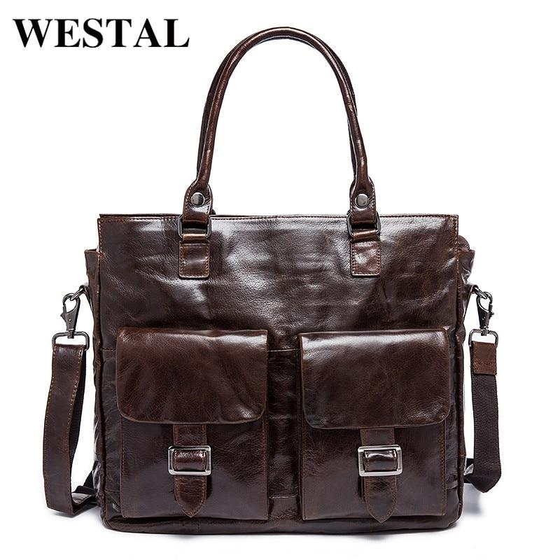 купить WESTAL Genuine Leather Men Bags Male Briefcase Man Business Laptop Bag Men Crossbody Shoulder Handbags Men's Messenger 004 недорого