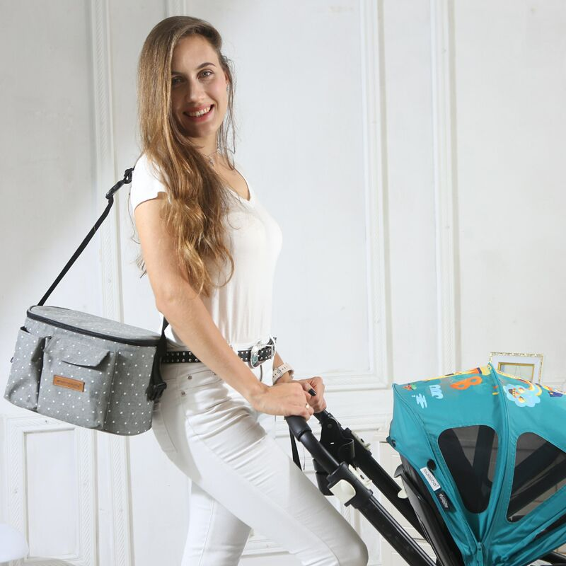 Baby Stroller Organizer Universal Stroller Bag With Two Insulated Cup Holders And Shoulder Strap Stroller Accessories