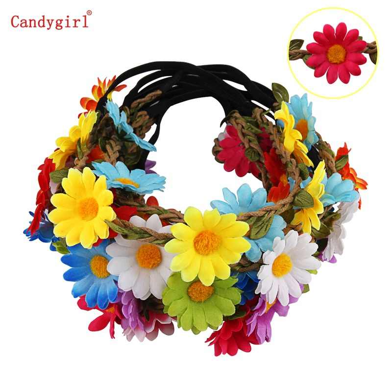 1pc Multicolor Lady Girl Fashion Flower Headband Wreath Crown Floral Garland Headbands for Festival Wedding Party Photo Props