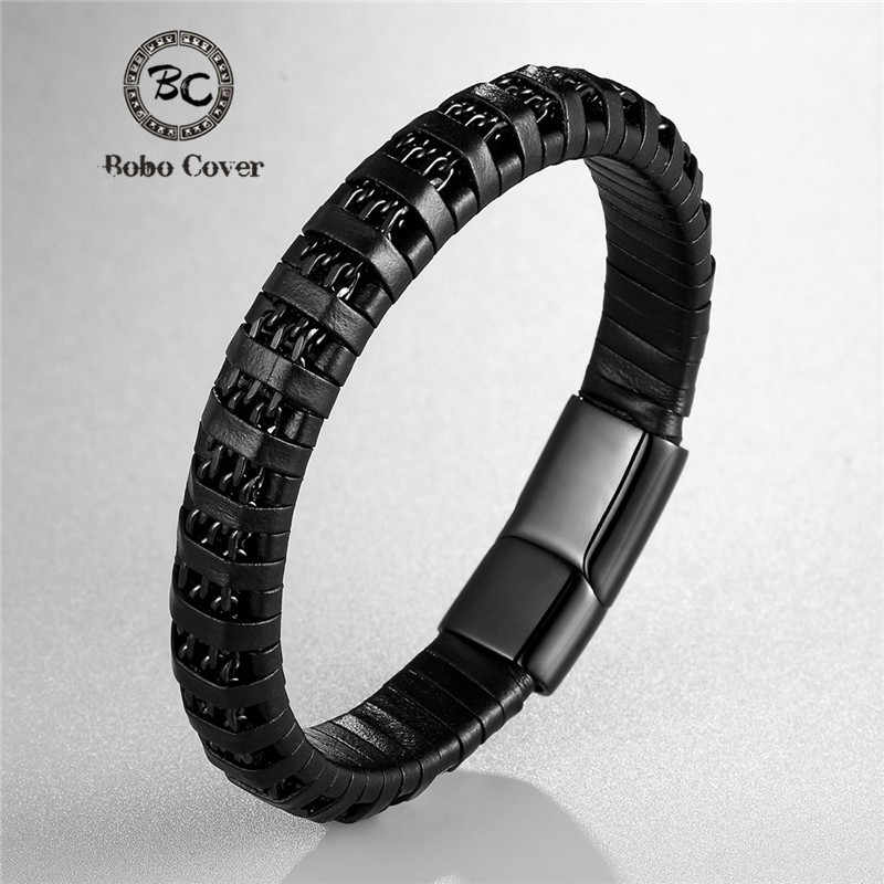 Fashion Black Braided Genuine Leather Bracelet men Chain Stainless Steel Magnetic Clasp Bracelets Male Jewelry Gifts Pulseras