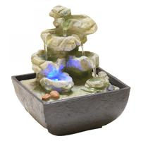 Resin Decorative Fountains Indoor Water Fountains Creative Craft Desktop Home Decor Figurines Fengshui Water Fountain LED Light
