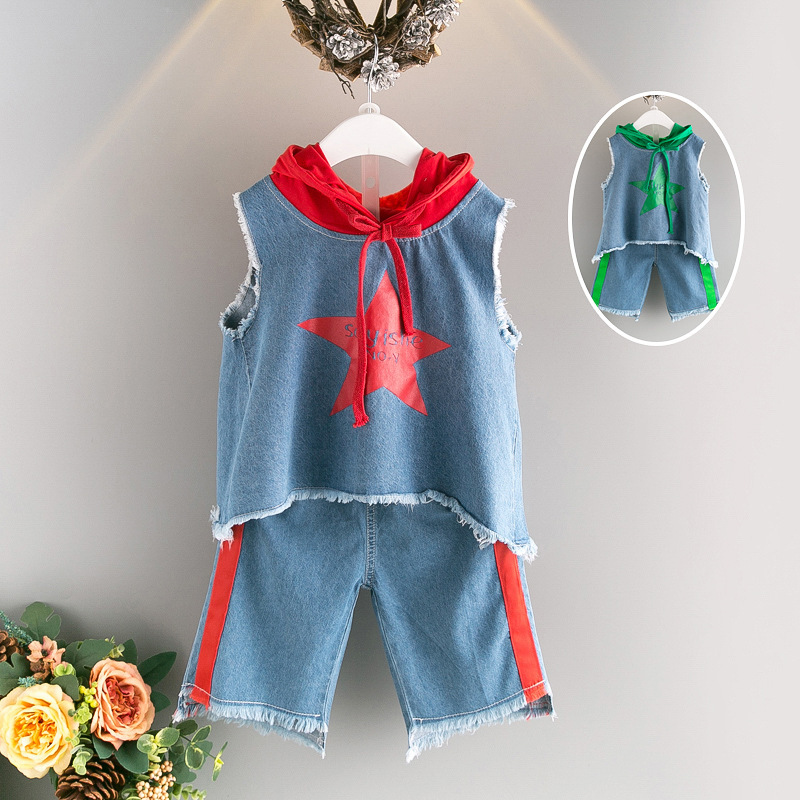 2017 summer roupas infantis menina sports star pullover+short 2pcs denim baby clothing set 2-7age girls boutique outfits star island summer