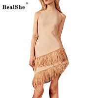 RealShe Feather Elegant Dress Women Sleeveless Vestido 2018 Summer Women Mini Dress Robe O Neck Fitness
