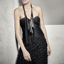 YD & YDBZ 新人デザイナーの高級本物の革のペンダントネックレス女性ネックレスゴシック革チェーンパーティーロングチョーカージュエリー