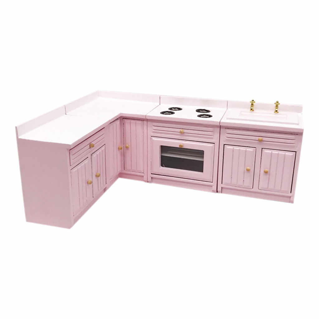 New 1:12 Dollhouse Miniature Furniture Wooden Kitchen Cabinet Set Freely Combined Miniature Metal 1set Miniature L419
