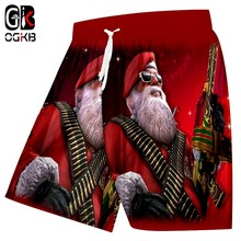 OGKB Summer Men Domineering The Santa Claus Pistol 3D Printed Red And White 5XL Bermuda Masculine Beach Shorts(China)
