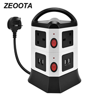 Vertical Power Strip Extension Leads Surge Protector 6 Outlets 4 USB Ports Socket Individual Switch Extension Cord 6.5 Ft