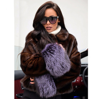 Real Mink Fur Coat Storage 2019 New Arrival Genuine Clothing Women Winter Palace Short Jacket Silver Fox Sleeves Outerwear 1228