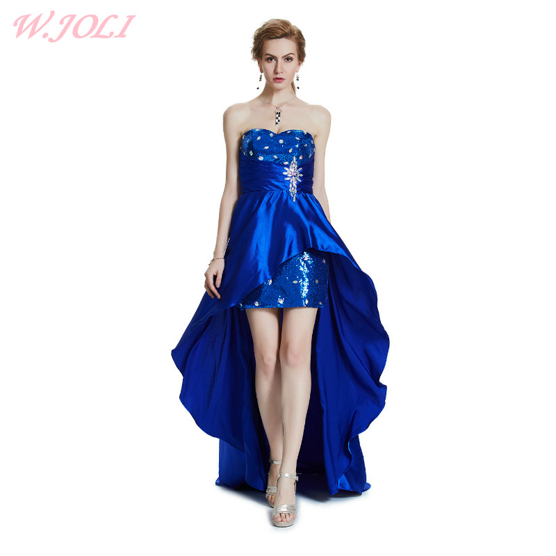 W.JOLI 2019   Evening     Dress   Sexy Strapless Sleeveless Satin Pleat Crytal Bride Banquet Elegant Wedding Party Prom   Dresses   Gown