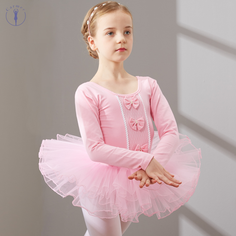 Combed Cotton Dance Dress Ballet Dress Tutu Ballet For Girls Kids Children High Quality Long Sleeves Ballerina Tulle Dance