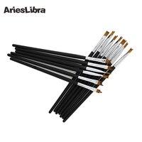 AriesLibra Fransız Tarzı Tırnak Fırça 13 adet Ahşap Kolu Boyama Çizim Kalem Fransız Manikür Için Fırça DIY Nail Araçları Nail sanat
