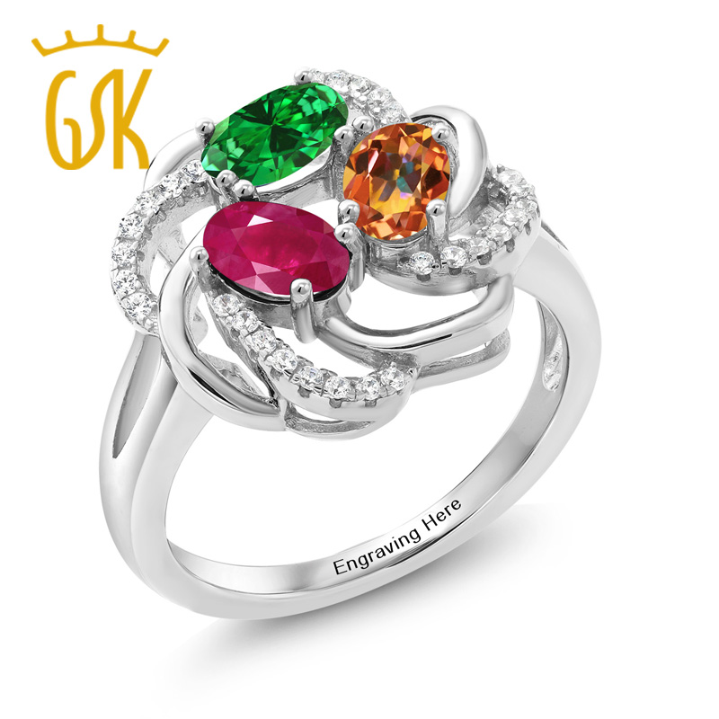 Gem Stone King Build Your Own Ring - Personalized 3 Birthstone Flower Blossom Ring in Rhodium Plated 925 Sterling Silver