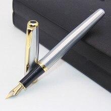 BAOER 388, Классическая деловая перьевая ручка из нержавеющей стали, средний перьевой наконечник, новинка, серебряная, золотая отделка, M перо