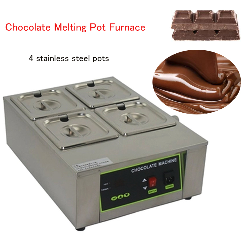 4 Cylinder Chocolate Melting Pot Furnace stainless steel chocolate melting pot  DIY Electric Chocolate machine D2002-4 220v 600w 1 2l portable multi cooker mini electric hot pot stainless steel inner electric cooker with steam lattice for students