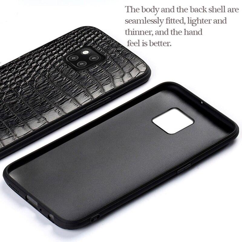 Para Companheiro 20 Genuine Phone case Couro Para Huawei P10 P20 Lite Pro caso do Estilo do Negócio do Triângulo Textura Para O Companheiro 20 pro capa - 4