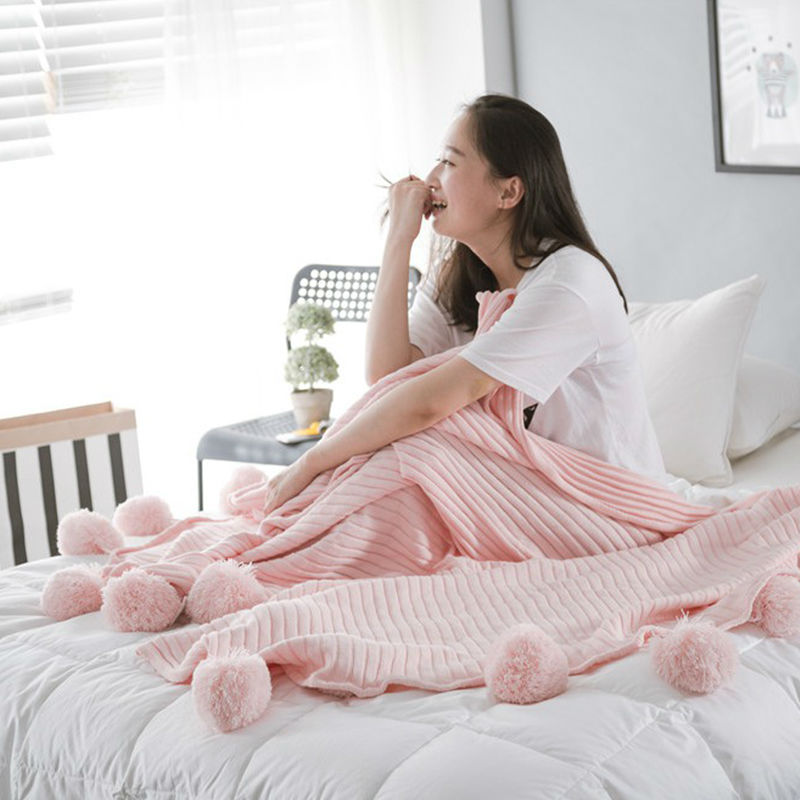 Ms Knitted Cotton Blanket Solid Spring/Autumn Airplane Travel Thread Blanket Size 150x200cm Sofa/Bed/Home Pink Hairball Blankets big size nordic navy blue gray mixed sofa cover blanket 130 170cm simple style wearable blanket sofa towel car blanket