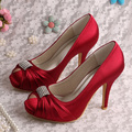 Dropshipping Woman Wine Red High Heel Shoes Wedding Square Toe Size 37