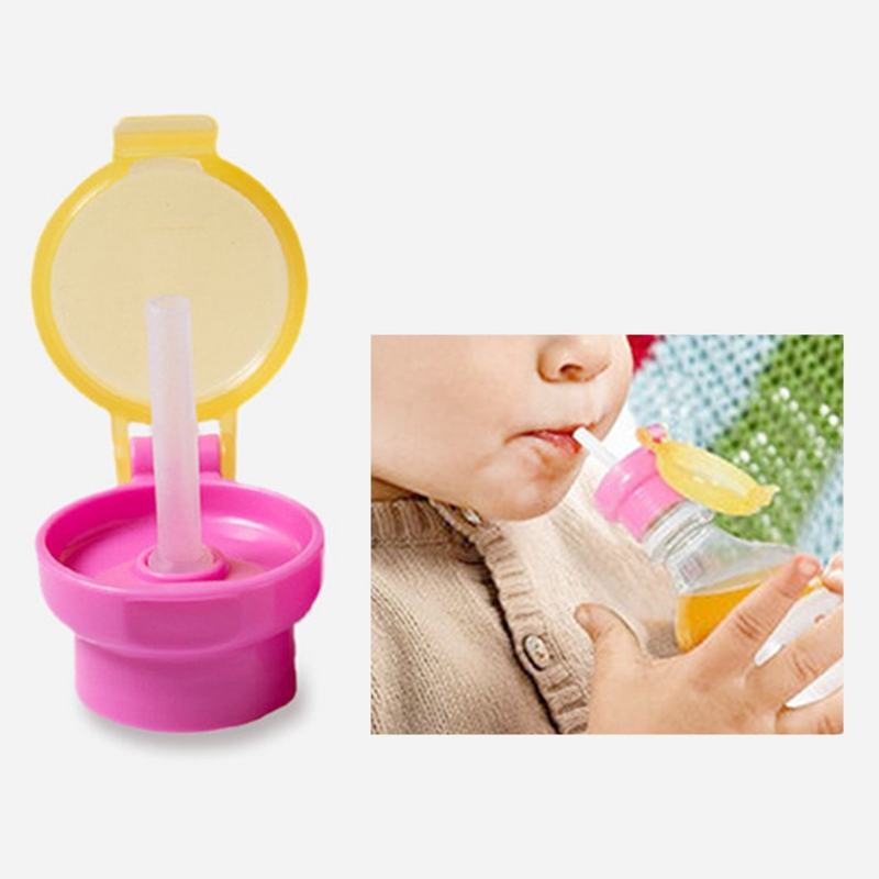 Children Kids Feeding Drinking Cup Cover With Straw For Bottle PP Resin Nursing Cover Portable Baby Food Water Cup Cover