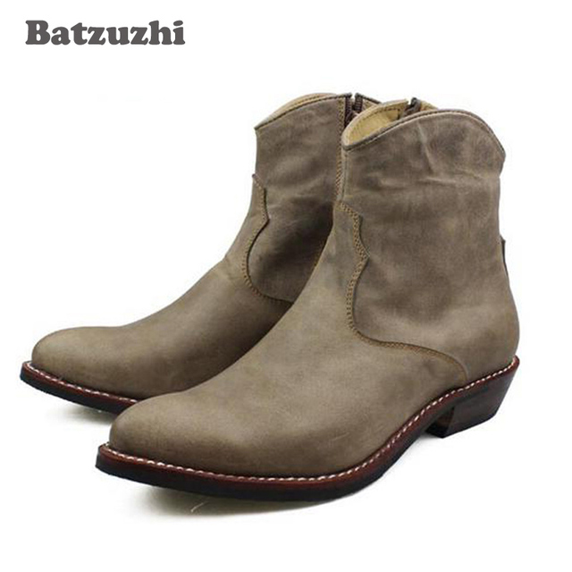 Brand 100% Handmade Men's Boots Cow Genuine Leather Ankle Men Boots Punk Combat Western Cowboy Motorcycle Boots Man Botas