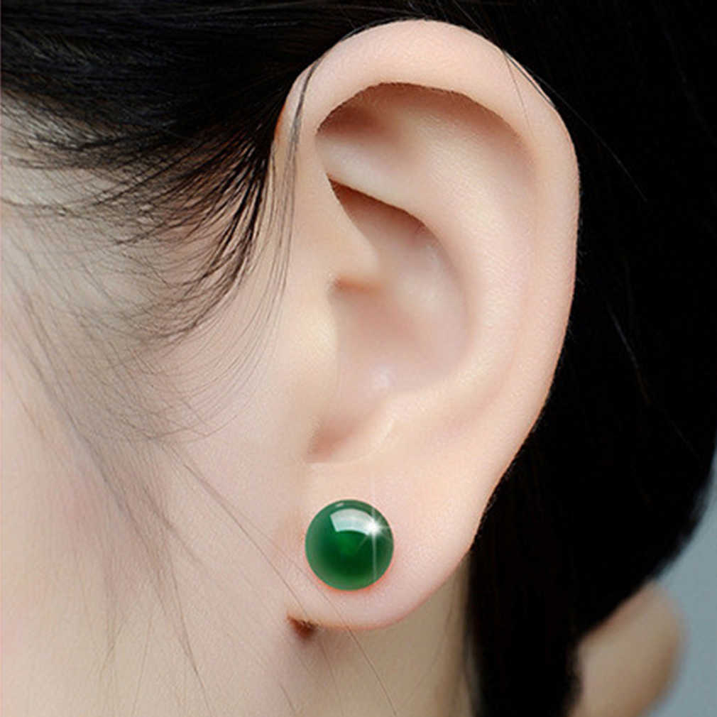 Round Natural Green Chalcedony Earring Female Copper Plated Red Black Green Stud Stone Crystal Vintage Jewelry Wedding