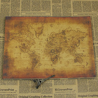 Vintage Style Retro Kraft Paper Poster Globe Earth Old World Map Navigation Map Gifts
