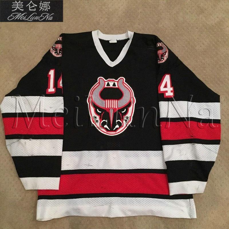 MeiLunNa Custom ECHL Birmingham Bulls Hockey Jerseys 14 Jamey Hicks 9 Mike Barrie Throwback Home Road Sewn On Any Name NO.Size