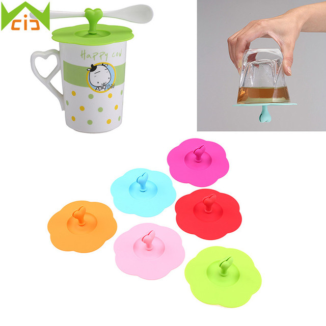f213e56e5d5 US $3.35 |WCIC Anti dust Silicone Heart Glass Cup Cover Leakproof Reusable  Coffee Mug Suction Seal Lid Cap Insulation Stopper Spoon Holder on ...