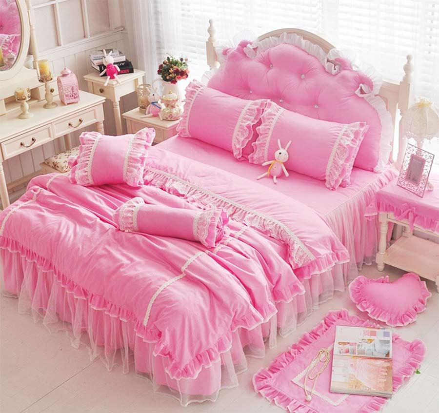 Green Ruffle Lace Single Double Bed Set Girl Cotton Twin