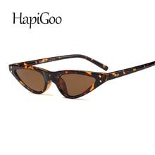 HapiGOO marca diseñado pequeño marco gato ojo gafas de sol mujer leopardo  triángulo Vintage barato con estilo gafas de sol para . b3193c0c92a7