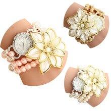 Белые Женщины Горный Хрусталь Часы Дамы перл ремень Многие лепестки цветка браслет кварцевые наручные часы женщины одеваются часы БУДЕТЕ