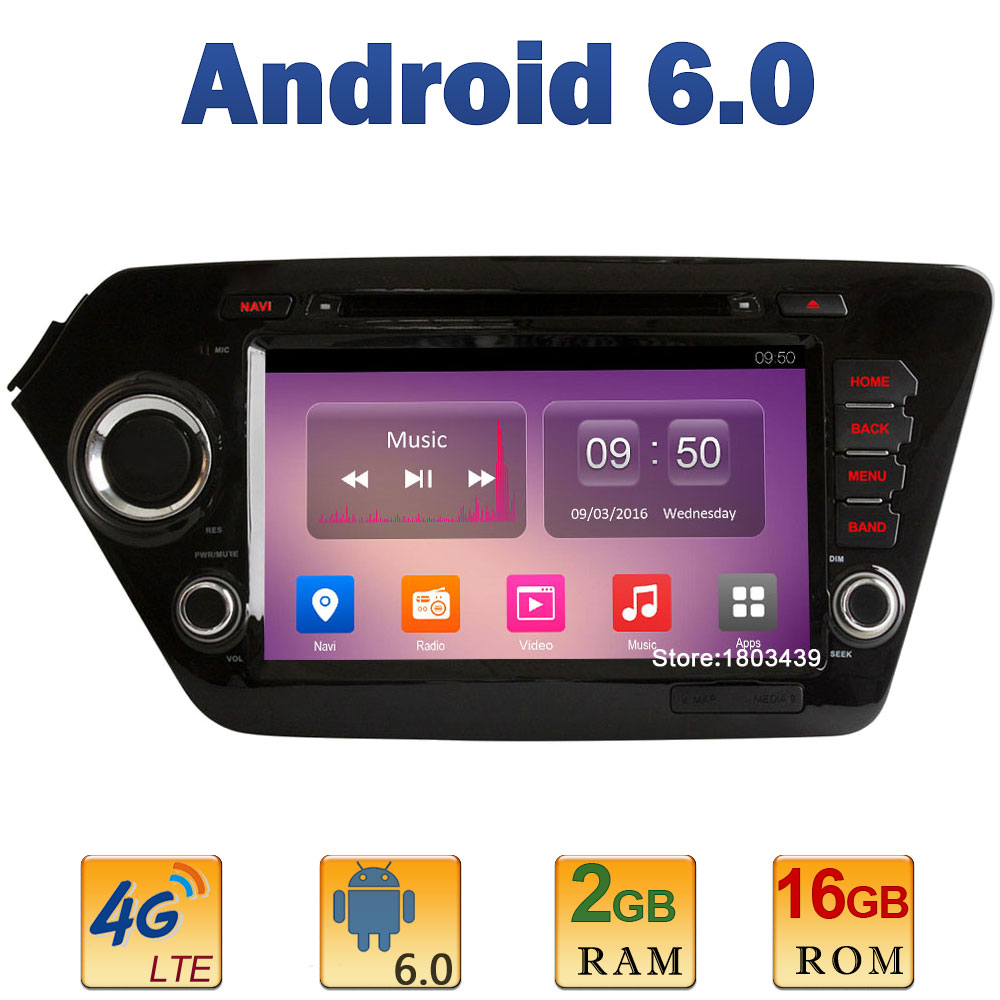 8 1024*600 Quad Core 2GB RAM+16GB ROM 4G LTE SIM WIFI Android 6.0 Car DVD Player Radio Stereo For Kia K2 Rio 2010-2015 DAB+AUX
