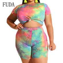 FUDA Two Pieces Sets Large Size 3XL Playsuits Women Bodycon Rompers Bodysuits Short Sleeve Printed Casual Summer Overalls fuda two pieces sets large size 3xl playsuits women bodycon rompers bodysuits short sleeve printed casual summer overalls