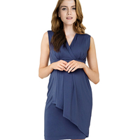 Euro America Sexy V Neck Maternity Nursing Dresses Pregnancy Nurse Wear Dress Cotton Pregnant Women Breastfeeding Clothes Summer