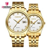 Brand CHENXI Luxury Watches Fashion Lovers Watches Luxury Rhinestone Gold Couple Watches Women Men Stainless Steel Quartz Watch
