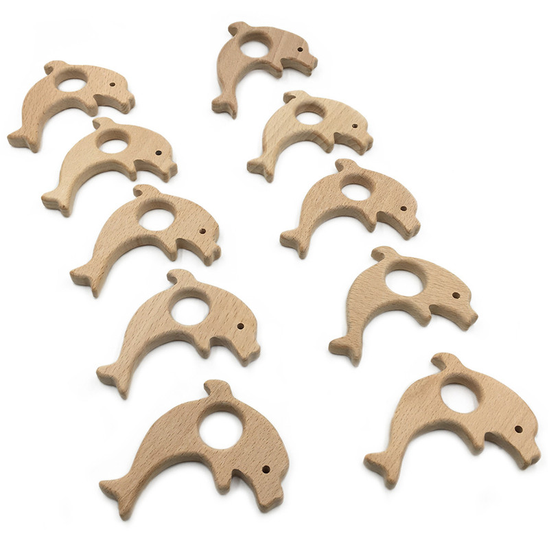 2019 Hot Sale Wooden Teether Dolphin Shape Teething Toy Safety Baby Toy DIY Accessories Dental Care Baby Teethers Bijtring