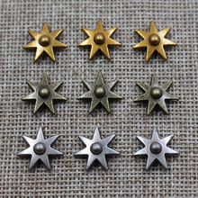 Rivet Star Jeans Decoration Nail-Set Craft Sewing 15mm Metal with Hexagram-Design 200pcs/Lot