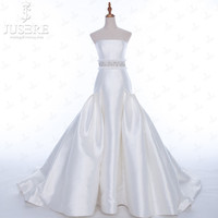 JUSERE Ivory Trumpet Puffy Crystal Sash Strapless Neckline Zipper up Back Chapel Train Mikado Bridal Wedding Dress 2018