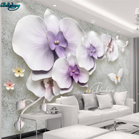 Beibehang Large Custom Wallpaper Retro New Chinese Relief 3D Stewed Orchid Gypsum TV Wall Decorative Wall