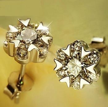 Flowers Snow dance Zircon 925 sterling silver Stud Earrings